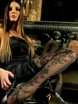 Lores No 406 Black Tights with Black & Red Tattoo